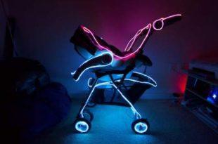 hautik Joshi pavyzdys, kaip galima apšviesti transporto priemonę, šiuo atveju, vaikišką vežimėlį.